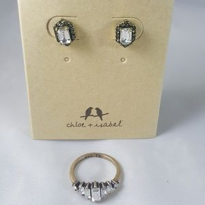 Crystal baguette ring with pave earrings
